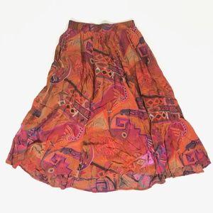 VTG KAREN KANE Womens Rayon Tribal Skirt Sz 12 USA